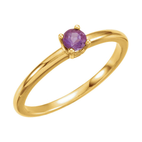 "3MM Amethyst ""February"" Ring Size 3 - 14K Yellow Gold"