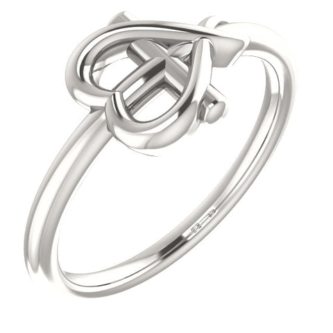 Cross Heart Ring Size 3.5 - Sterling Silver