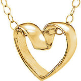 "9MM Ribbon Heart 15"" Necklace - 14K Yellow Gold"