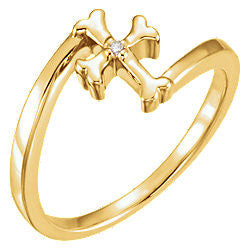 Child's Diamond Cross Thumb Ring 14K Gold