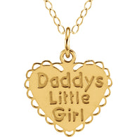 "16MM Daddy's Little Girl Heart Charm on 15"" Chain - 14K Yellow Gold"