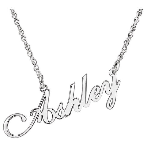 "33x8MM Script Nameplate on 16"" Chain - Sterling Silver"
