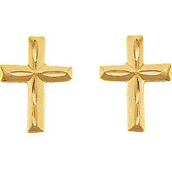 9MM Gold Cross Stud Earrings in 14K Yellow Gold