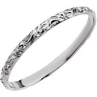 1MM Etched Ring Size 3 - 14K White Gold (Also available in 14K Yellow or 14K Rose Gold)