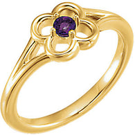 "2.5MM Amethyst ""February"" Flower Ring Size 3 - 14K Yellow Gold"