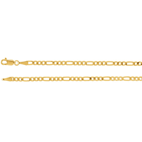 "3MM Figaro Link Chain (Available in 12"", 14"", 16"" and 18"") - 14K Yellow Gold"