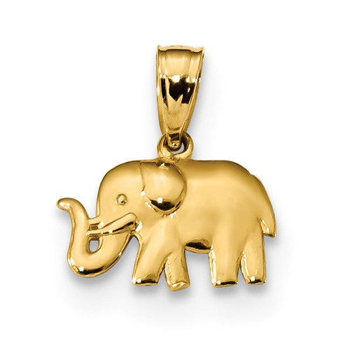 14MM Baby Elephant Charm - 14K Yellow Gold