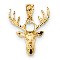 23MM Deer Head Charm - 14K Yellow Gold