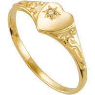 Heart Diamond Ring Size 3 - 14K Yellow Gold