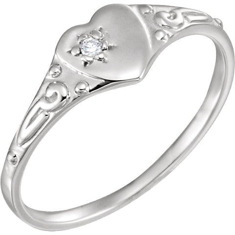 Heart Diamond Ring Size 3 - Sterling Silver
