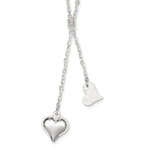 "15MM Hearts Drop 17"" Necklace - Sterling Silver"