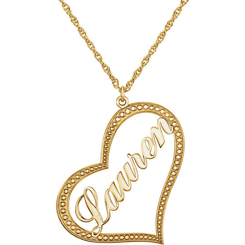 "33x30MM Heart Nameplate Charm on 16"" Chain - 10K Yellow Gold"