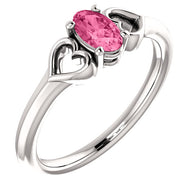 "5MM Oval Tourmaline ""October"" Hearts Ring Size 3 - 14K White Gold"