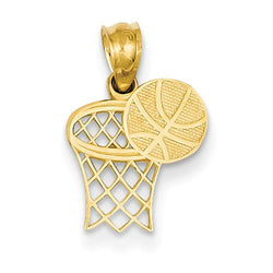 18MM Basketball Hoop Charm - 14K Yellow Gold