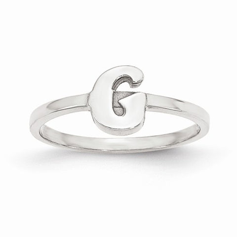 Block Letter Initial Ring (Available in sizes 5-7) - Sterling Silver