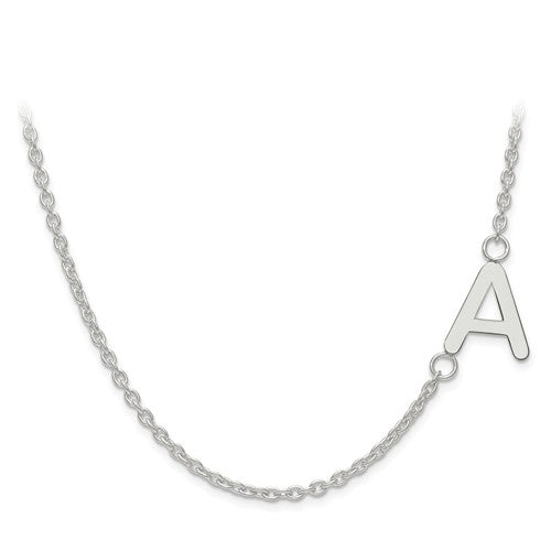 12x11MM Offset Initial Necklace (Available in letters A-Z) - Sterling Silver