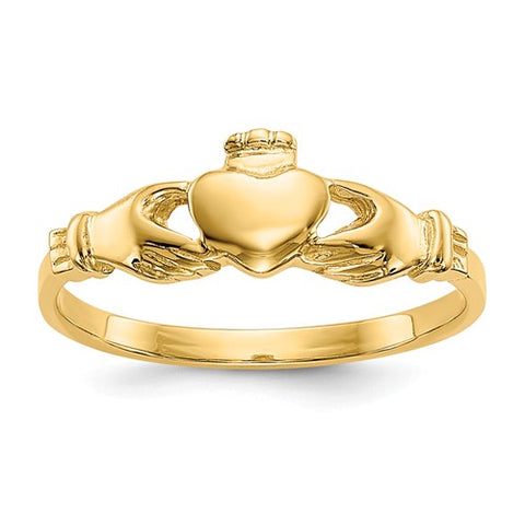 Baby Claddagh Ring Size 1 - 14K Yellow Gold