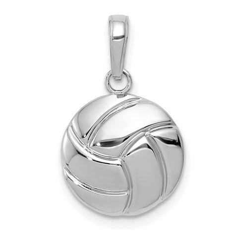 12MM Volleyball Charm - 14K White Gold