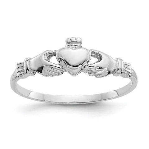 Claddagh Ring Size 4 - 14K White Gold