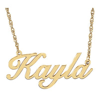 "32x14MM Script Nameplate on 16"" Chain - 10K or 14K Yellow Gold"