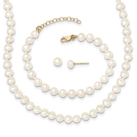"4MM Pearl Set - Stud Earrings, 14"" Necklace and 5"" Bracelet - 14K Yellow Gold"