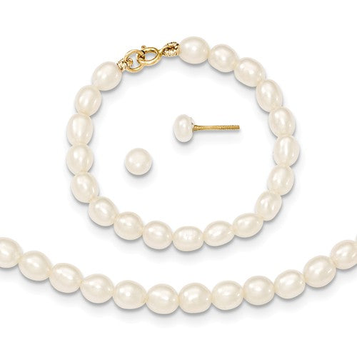 "3MM Pearl Set - 12"" Necklace and 4"" Bracelet - 14K Yellow Gold"