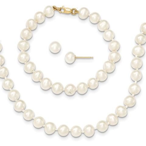 "5MM Pearl Set - 14"" Necklace and 5"" Bracelet - 14K Yellow Gold"