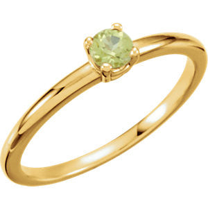 "3MM Peridot ""August"" Ring Size 3 - 14K Yellow or White Gold"