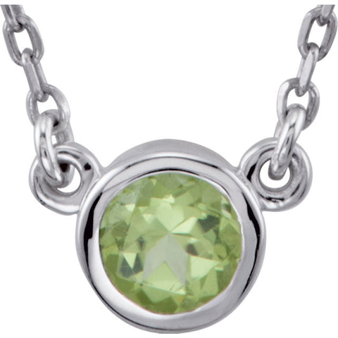 "4MM Peridot ""August"" 16"" Necklace - Sterling Silver"