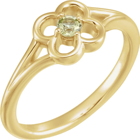 "2.5MM Peridot ""August"" Flower Ring Size 3 - 14K White Gold"