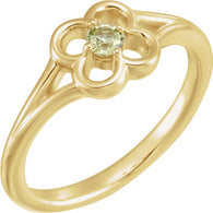 "2.5MM Peridot ""August"" Flower Ring Size 3 - 14K Yellow Gold"