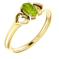 "5MM Peridot ""August"" Heart Ring Size 3 - 14K Yellow Gold"