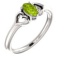 "5MM Peridot ""August"" Heart Ring Size 3 - 14K White Gold"