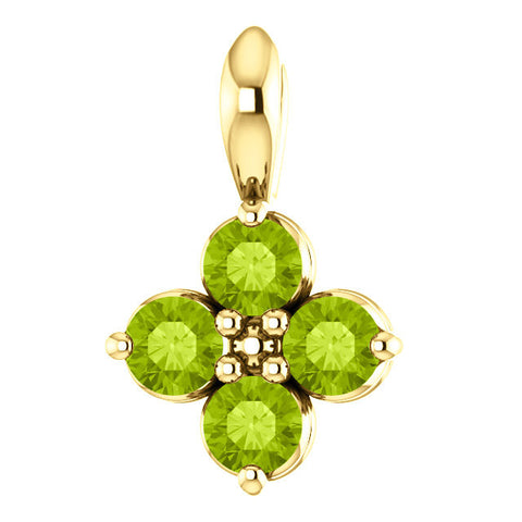 "9.5MM Peridot 4-Stone ""August"" Charm on 16""-18"" Adjustable Chain - 14K Yellow Gold"