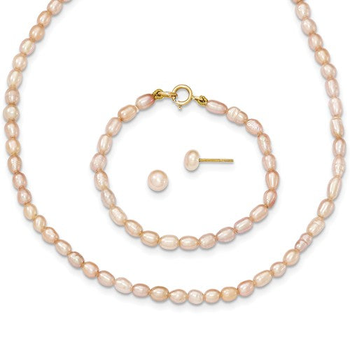 "3MM Pink Pearl Set - 12"" Necklace and 5"" Bracelet - 14K Yellow Gold"