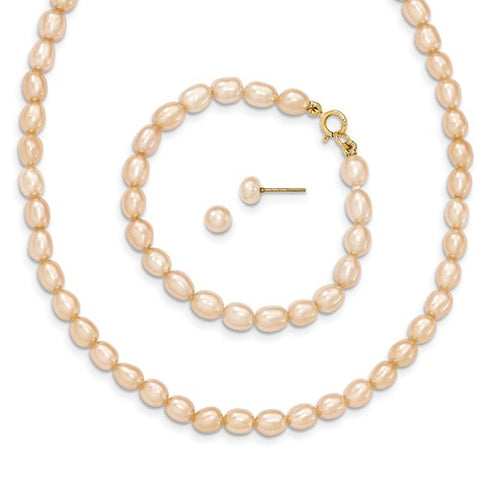 "4MM Pink Pearl Set - Stud Earrings, 14"" Necklace and 5"" Bracelet - 14K Yellow Gold"