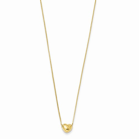"5MM Puffed Heart 16"" Necklace - 14K Yellow Gold"