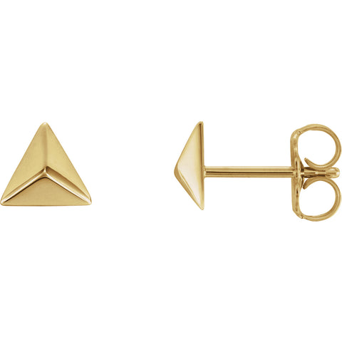 5.5MM Pyramid Stud Earrings - 14K Yellow Gold