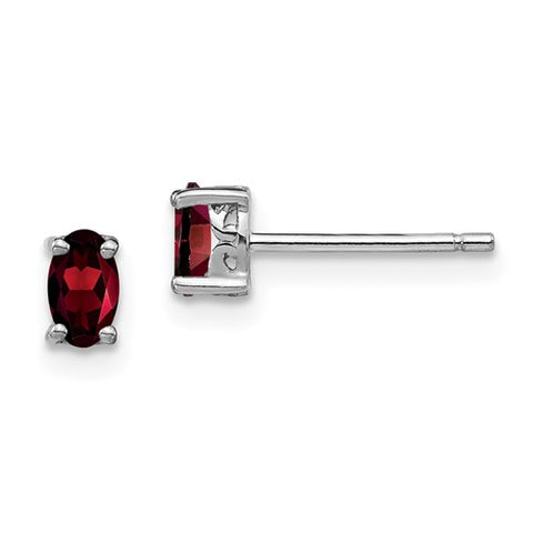 "5MM Oval Garnet ""January"" Stud Earrings with Push-on Backs - Sterling Silver"