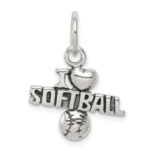 "17MM ""I Love Softball"" Charm - Sterling Silver"