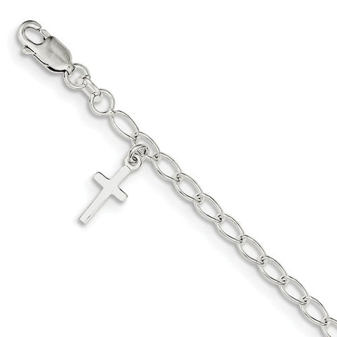 "6"" Cross Charm Bracelet - Sterling Silver"