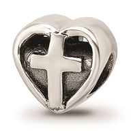 Heart Cross Bracelet Charm - Sterling Silver