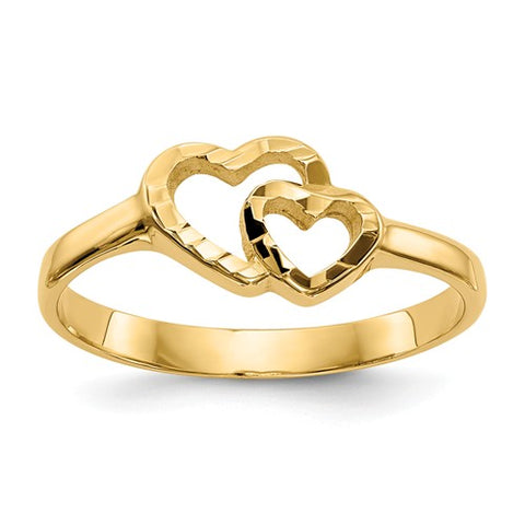 Double Hearts Ring Size 5 - 14K Yellow Gold