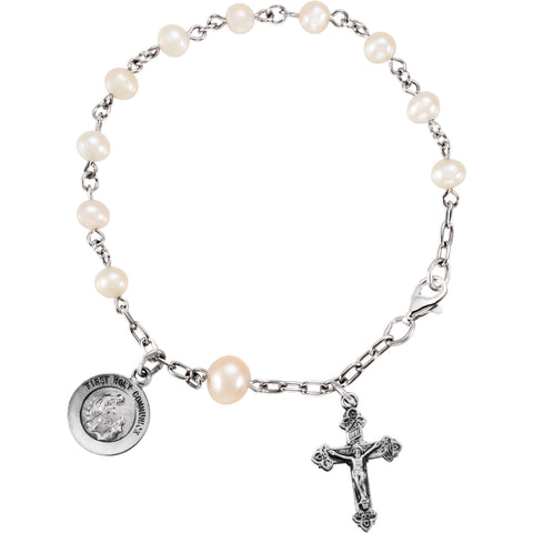 "6.5"" First Holy Communion Rosary Pearl Bracelet - Sterling Silver"