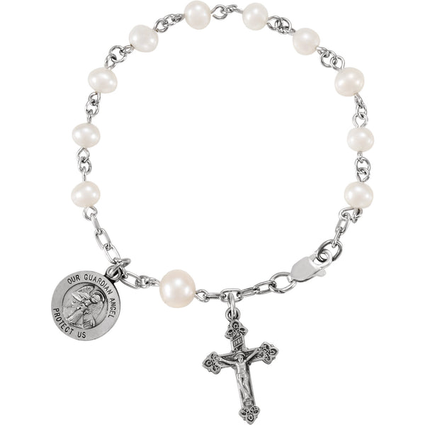 "6"" Our Guardian Angel Rosary Pearl Bracelet - Sterling Silver"