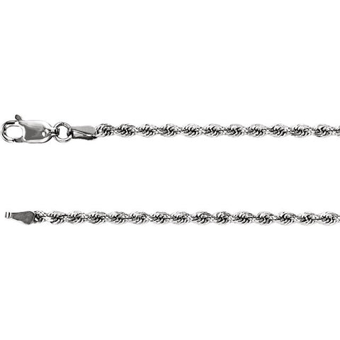 "2.4MM Diamond-Cut Rope Bracelet (Available in 4"" and 5"") - 14K Yellow or White Gold"