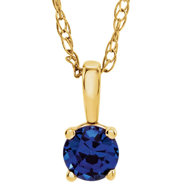"3MM Sapphire ""September"" Charm on 14"" Chain - 14K Yellow Gold"