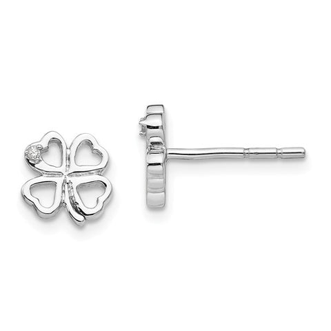 8MM Diamond Accent Clover Stud Earrings in Sterling Silver