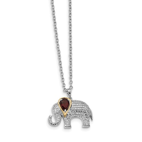 "20MM Garnet and Diamond Elephant Charm on 17"" Chain - Sterling Silver"