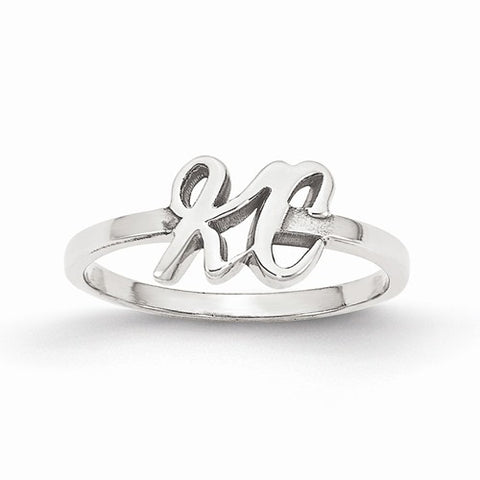 Script Initials Ring (Available in sizes 5-7) - Sterling Silver